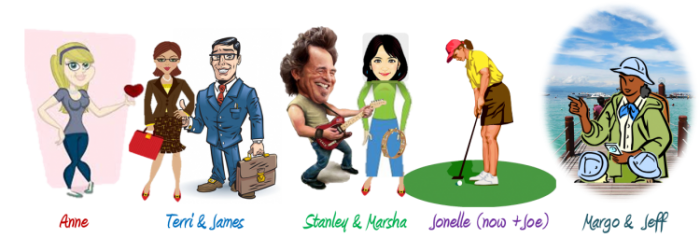 The Adventure Filled Life on iGlobal freedom.com- caricature avatars for blog to show response to survey questions